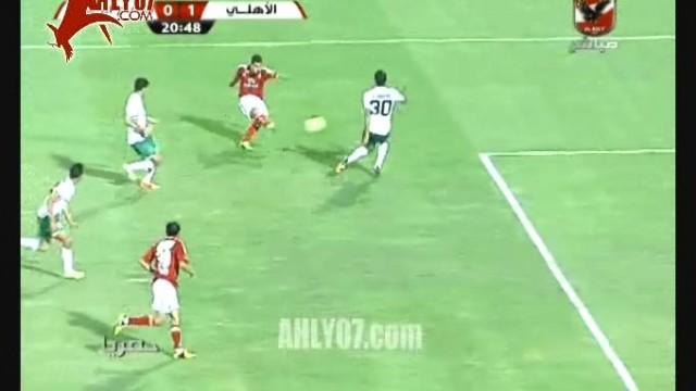 هدف الاهلي الاول في الدفاع الحسني المغربي والفوز
