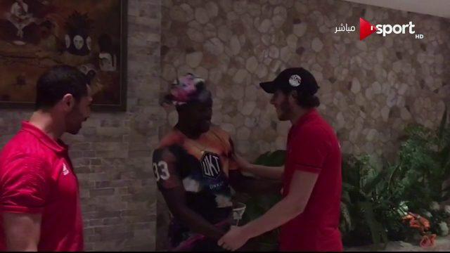 شاهد زيارة ايفونا لمعسكر المنتخب المصري في الجابون ومسخرة علي جبر انت بتضحك على ايه
